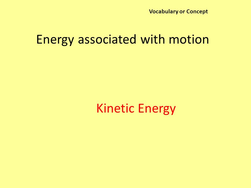 Vocabulary or Concept Energy associated with motion Kinetic Energy