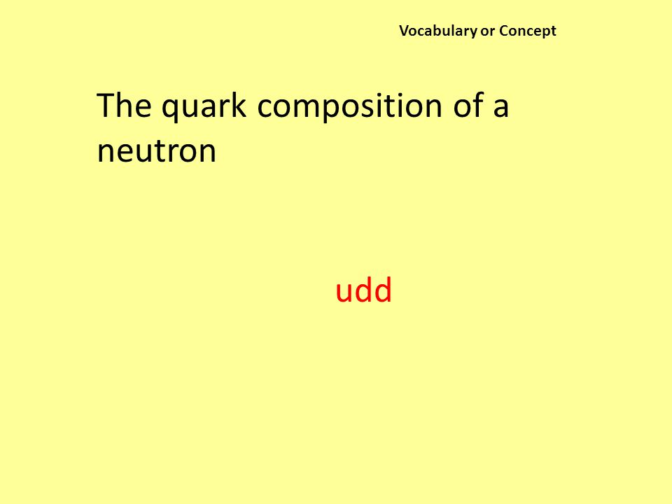 Vocabulary or Concept The quark composition of a neutron udd