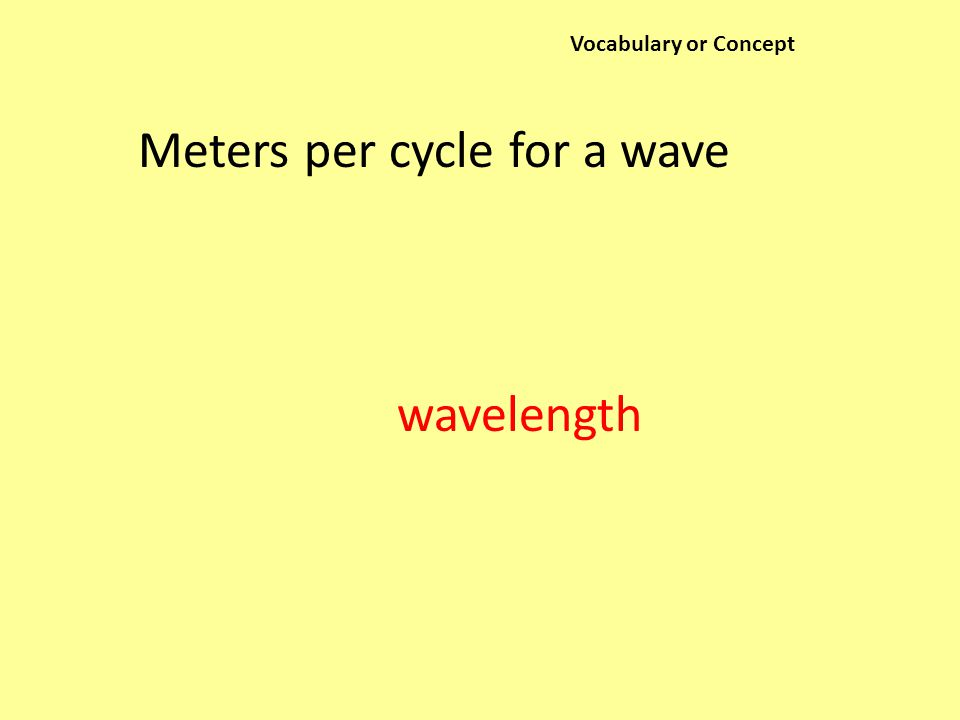 Vocabulary or Concept Meters per cycle for a wave wavelength