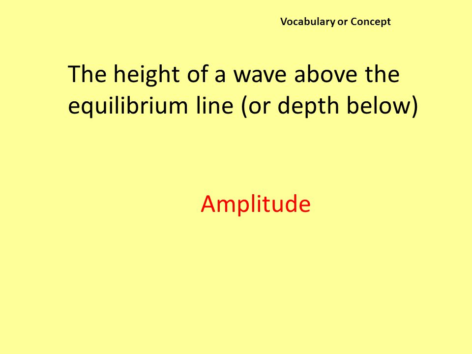 Vocabulary or Concept The height of a wave above the equilibrium line (or depth below) Amplitude