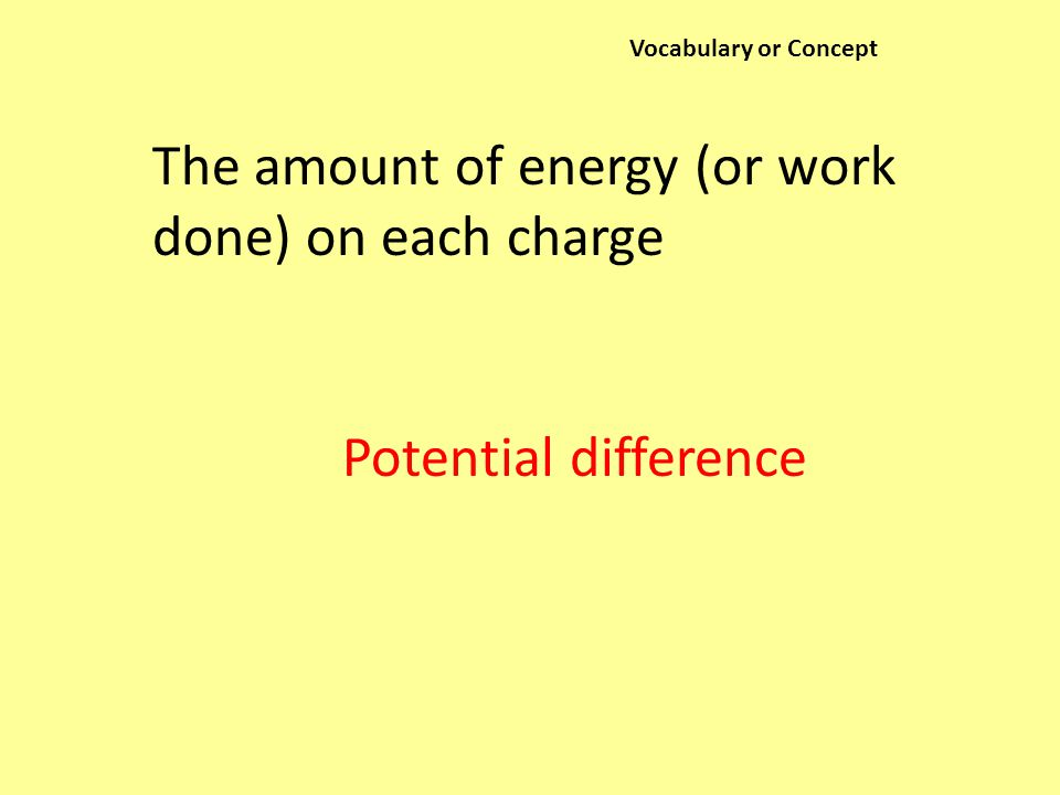 Vocabulary or Concept The amount of energy (or work done) on each charge Potential difference