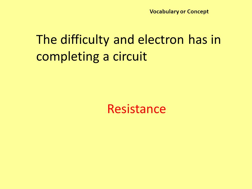 Vocabulary or Concept The difficulty and electron has in completing a circuit Resistance