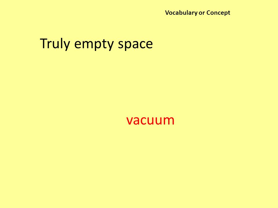 Vocabulary or Concept Truly empty space vacuum