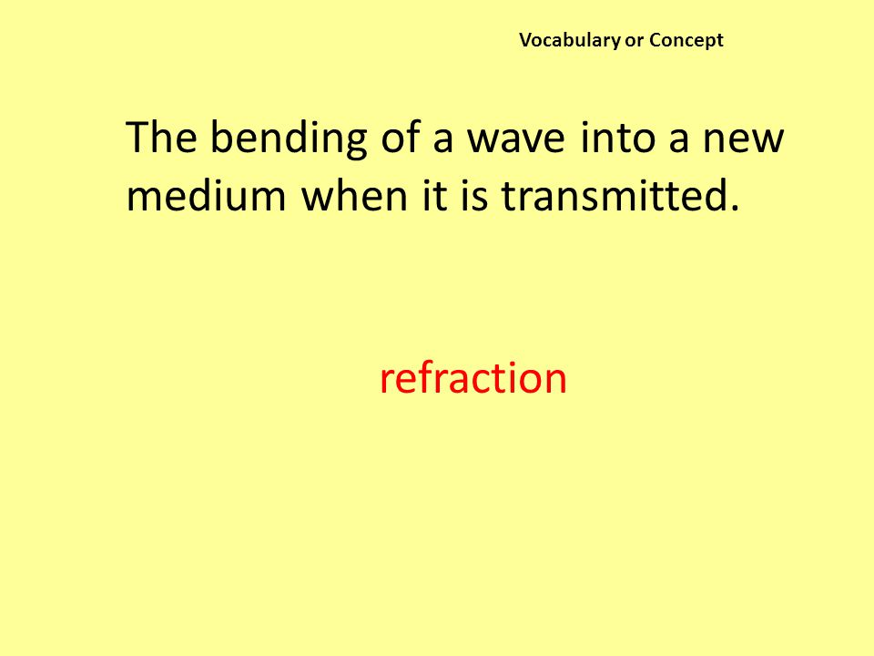 Vocabulary or Concept The bending of a wave into a new medium when it is transmitted. refraction