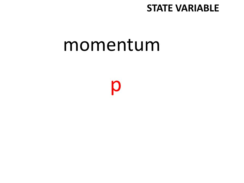 momentum p STATE VARIABLE