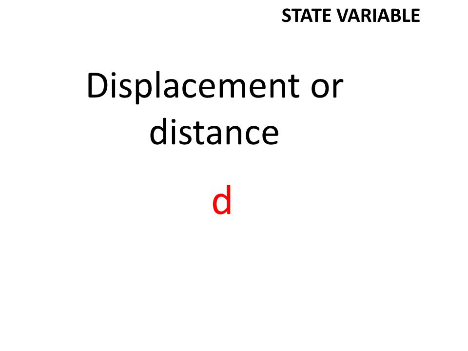 Displacement or distance d STATE VARIABLE