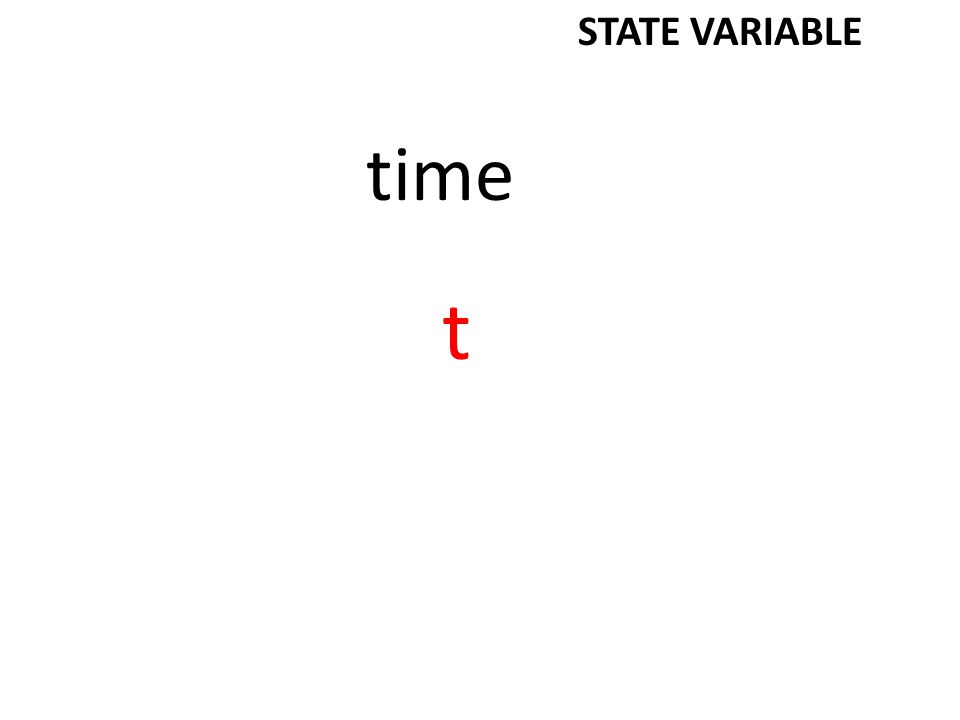 time t STATE VARIABLE