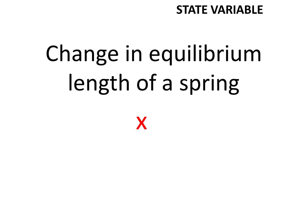 Change in equilibrium length of a spring x STATE VARIABLE