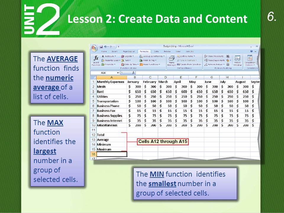 The AVERAGE function finds the numeric average of a list of cells.