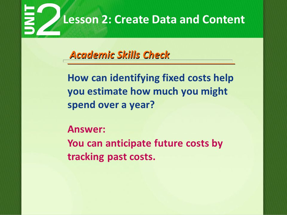 How can identifying fixed costs help you estimate how much you might spend over a year.