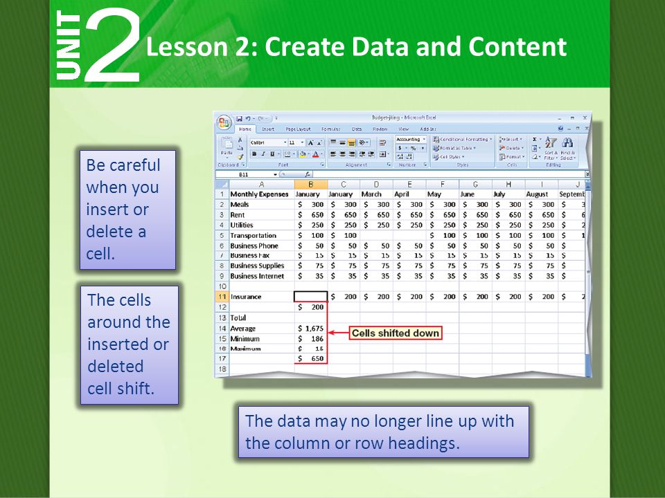 Lesson 2: Create Data and Content Be careful when you insert or delete a cell.