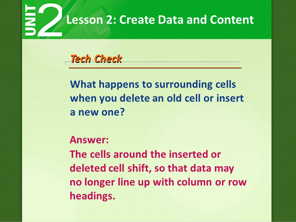 What happens to surrounding cells when you delete an old cell or insert a new one.
