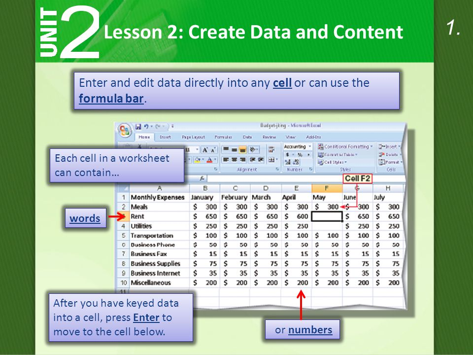 Each cell in a worksheet can contain… Lesson 2: Create Data and Content Enter and edit data directly into any cell or can use the formula bar.