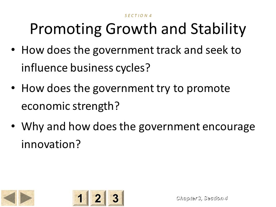 S E C T I O N 4 Promoting Growth and Stability How does the government track and seek to influence business cycles.