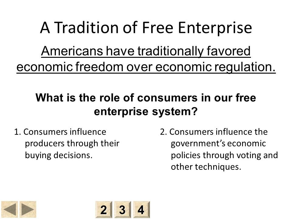 A Tradition of Free Enterprise 1.Consumers influence producers through their buying decisions.