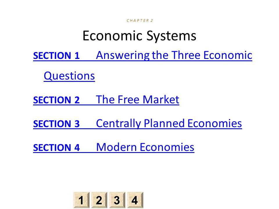 SECTION 1 Answering the Three Economic Questions SECTION 2 The Free Market SECTION 3 Centrally Planned Economies SECTION 4 Modern Economies 2222 3333 4444 1111