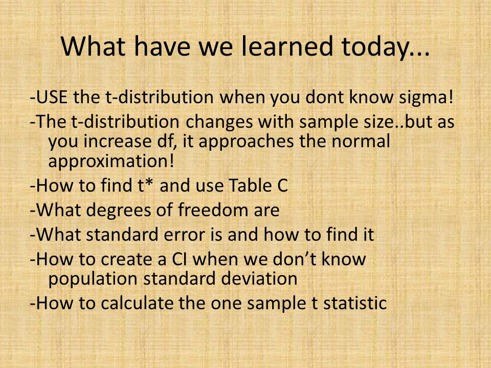 What have we learned today... -USE the t-distribution when you dont know sigma.