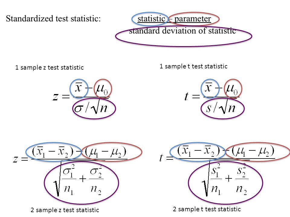 2 sample z test statistic 2 sample t test statistic 1 sample z test statistic 1 sample t test statistic