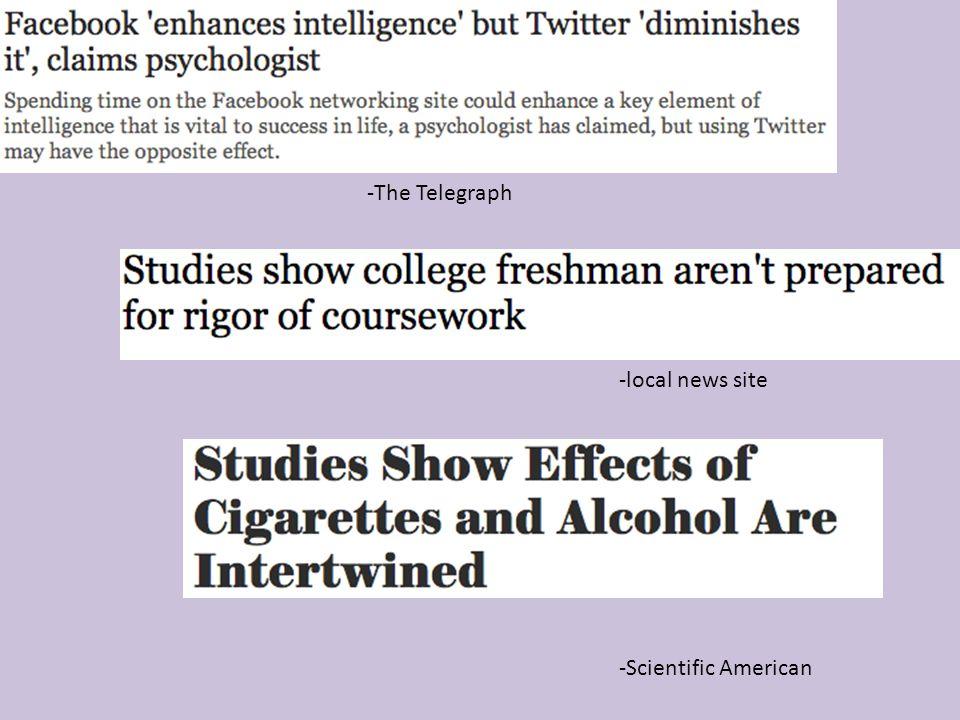 -The Telegraph -Scientific American -local news site