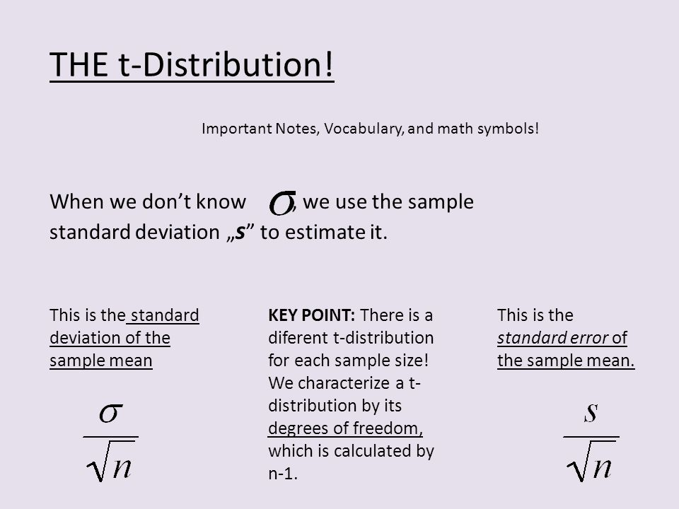 THE t-Distribution. Important Notes, Vocabulary, and math symbols.
