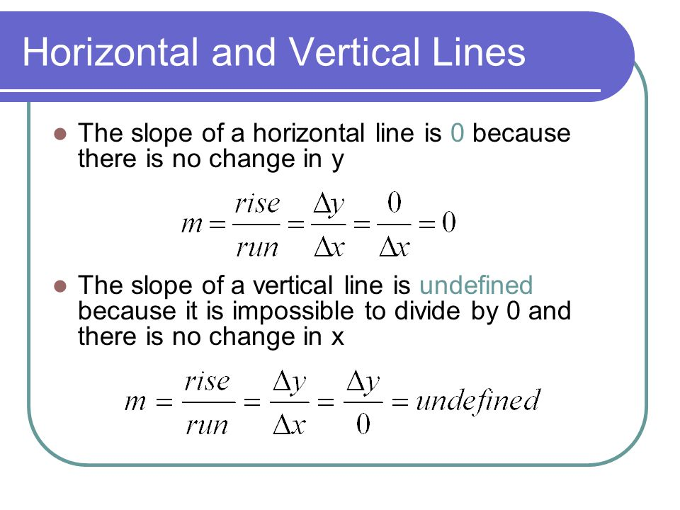 Horizontal and Vertical Lines The slope of a horizontal line is 0 because there is no change in y The slope of a vertical line is undefined because it