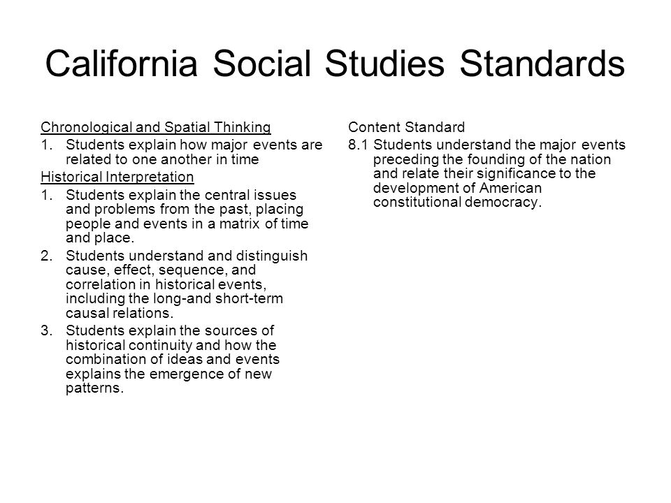 California Social Studies Standards Chronological and Spatial Thinking 1.Students explain how major events are related to one another in time Historical Interpretation 1.Students explain the central issues and problems from the past, placing people and events in a matrix of time and place.