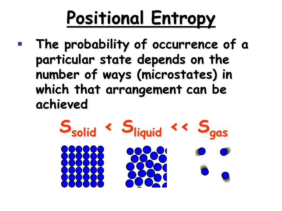 Positional Entropy  The probability of occurrence of a particular state depends on the number of ways (microstates) in which that arrangement can be achieved S solid < S liquid << S gas
