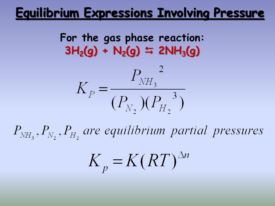 Equilibrium Expressions Involving Pressure For the gas phase reaction: 3H 2 (g) + N 2 (g)  2NH 3 (g)