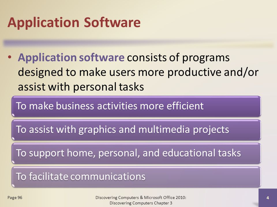 Application Software Application software consists of programs designed to make users more productive and/or assist with personal tasks Discovering Computers & Microsoft Office 2010: Discovering Computers Chapter 3 4 Page 96 To make business activities more efficientTo assist with graphics and multimedia projectsTo support home, personal, and educational tasksTo facilitate communications