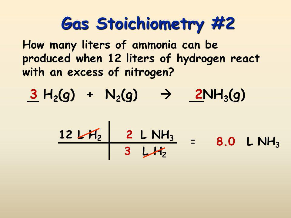 Gas Stoichiometry #1 If reactants and products are at the same conditions of temperature and pressure, then mole ratios of gases are also volume ratio
