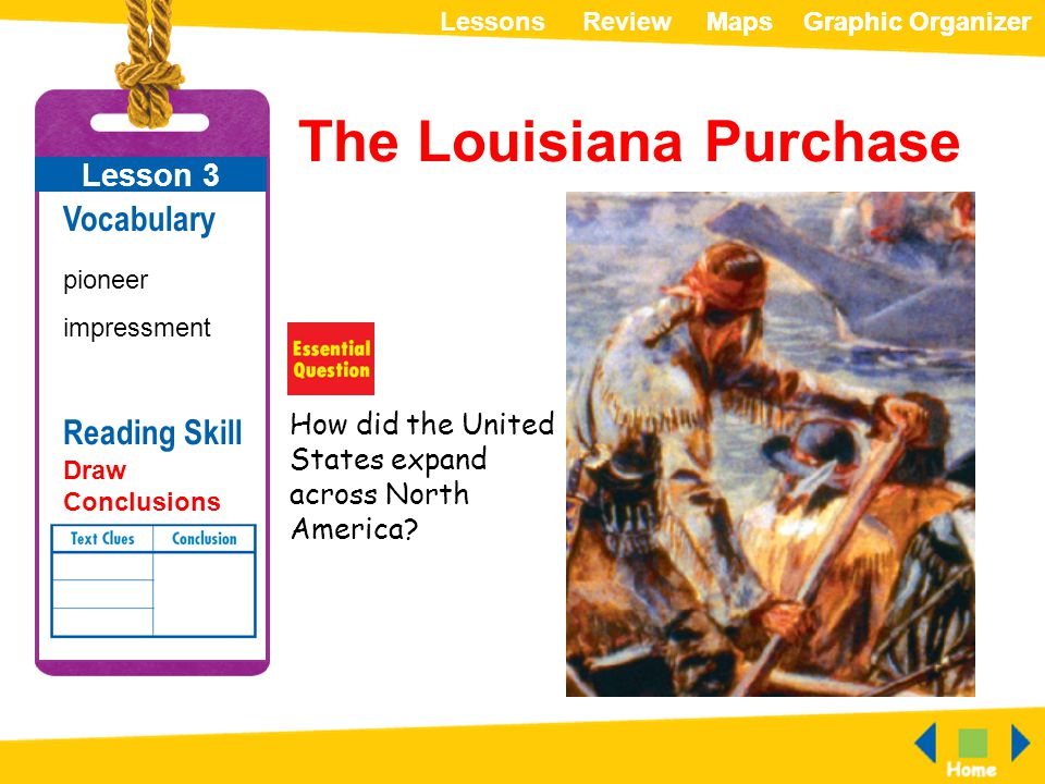 ReviewLessonsMapsGraphic OrganizerMapsGraphic Organizer The Louisiana Purchase How did the United States expand across North America? Lesson 3 Vocabul