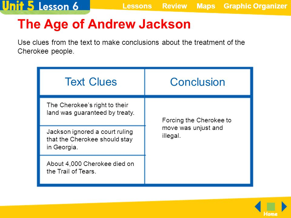 ReviewLessonsMapsGraphic OrganizerMapsGraphic Organizer Text Clues Conclusion The Age of Andrew Jackson Use clues from the text to make conclusions ab