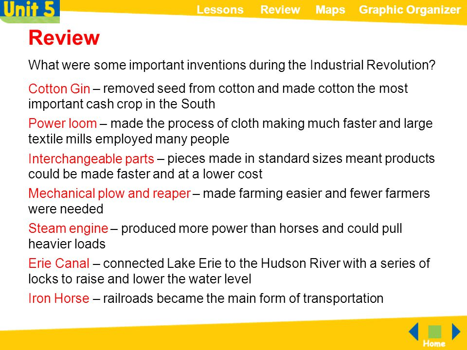 ReviewLessonsMapsGraphic OrganizerMapsGraphic Organizer Review What were some important inventions during the Industrial Revolution? – removed seed fr