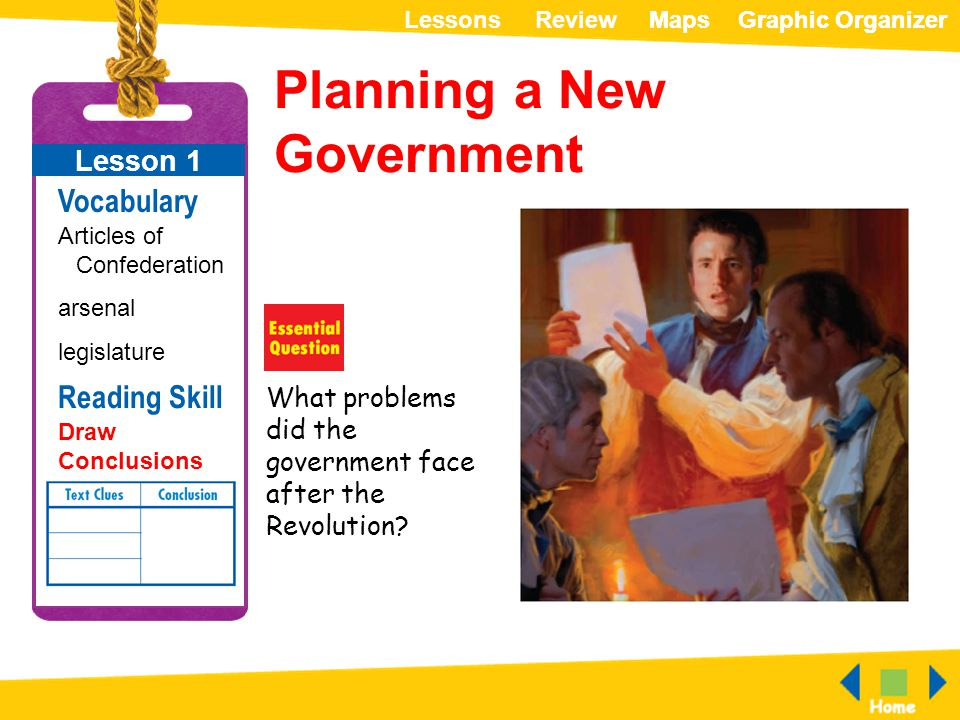 ReviewLessonsMapsGraphic OrganizerMapsGraphic Organizer Planning a New Government What problems did the government face after the Revolution? Lesson 1