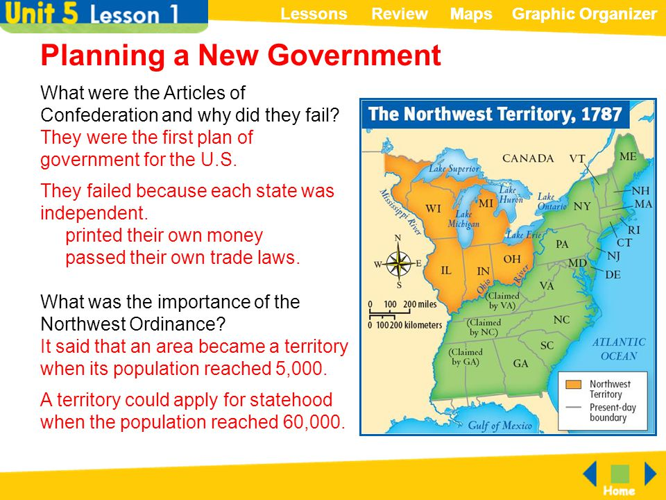 ReviewLessonsMapsGraphic OrganizerMapsGraphic Organizer Planning a New Government What were the Articles of Confederation and why did they fail? They