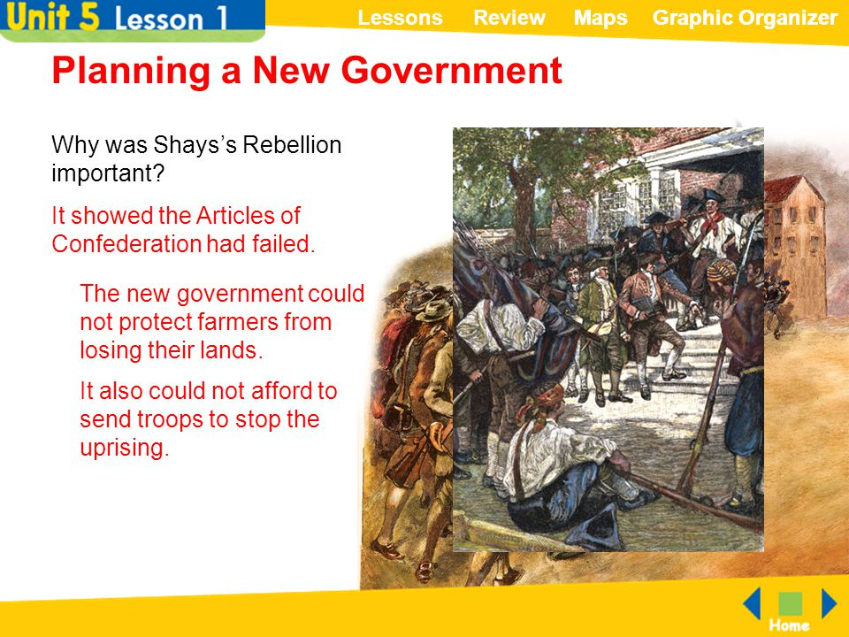 ReviewLessonsMapsGraphic OrganizerMapsGraphic Organizer Planning a New Government Why was Shays's Rebellion important? It showed the Articles of Confe