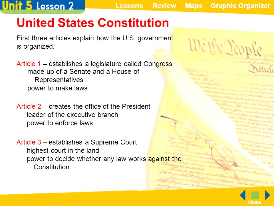 ReviewLessonsMapsGraphic OrganizerMapsGraphic Organizer United States Constitution First three articles explain how the U.S. government is organized.