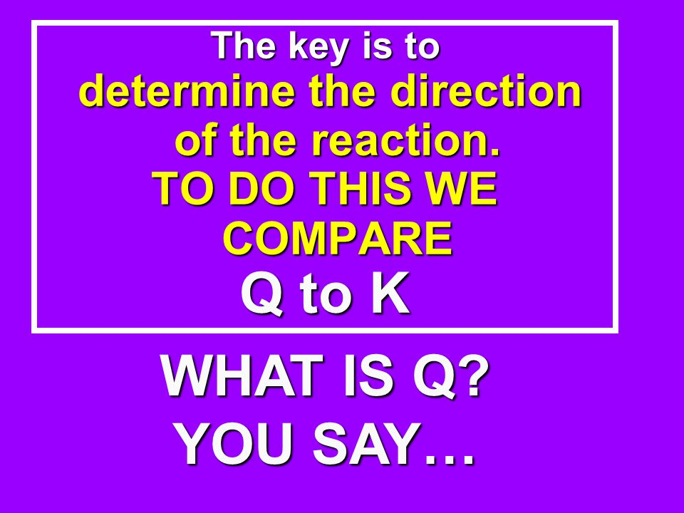 The key is to determine the direction of the reaction.