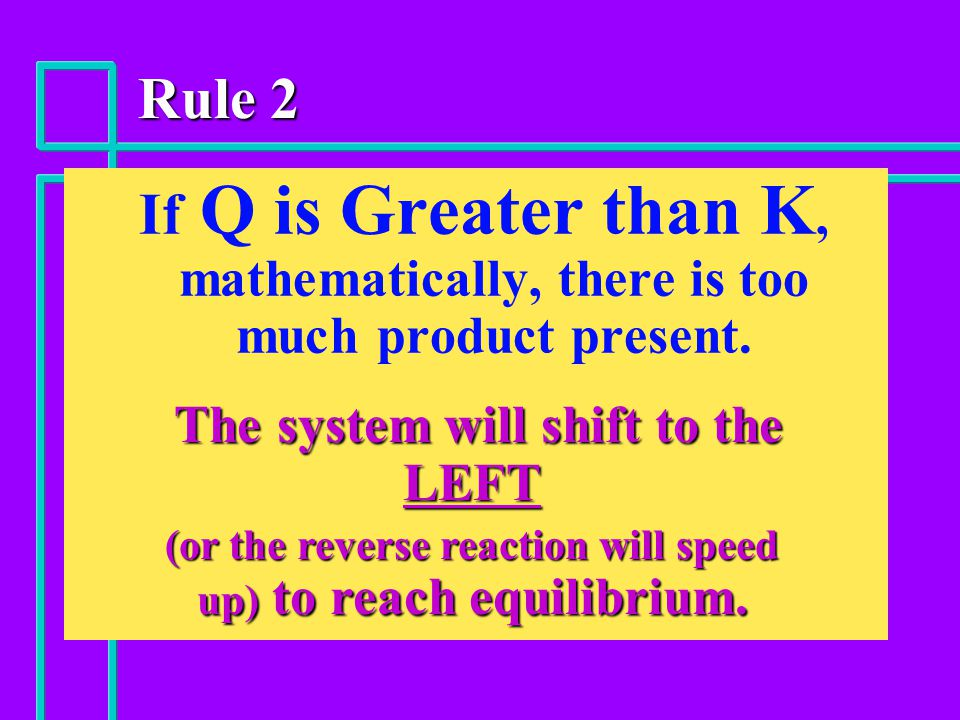 Rule 2 If Q is Greater than K, mathematically, there is too much product present.