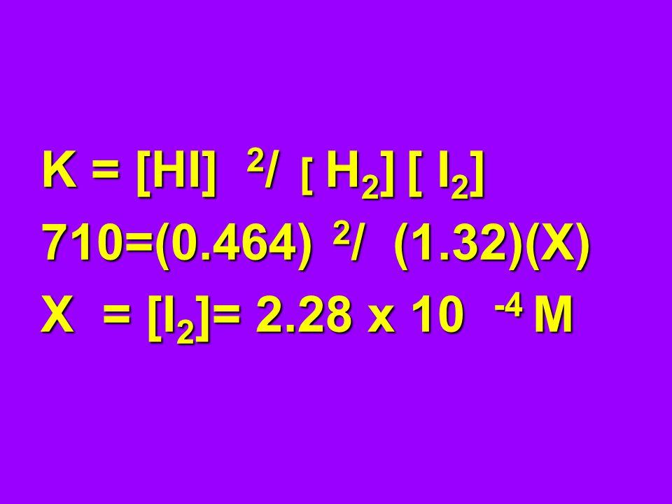 K = [HI] 2 / [ H 2 ] [ I 2 ] 710=(0.464) 2 / (1.32)(X) X = [I 2 ]= 2.28 x 10 -4 M