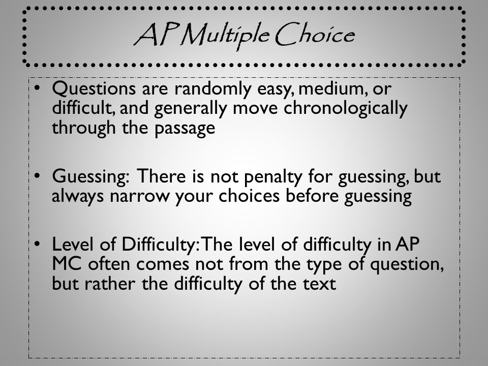 AP Exam: Free Response Questions Question #2 Prose Analysis