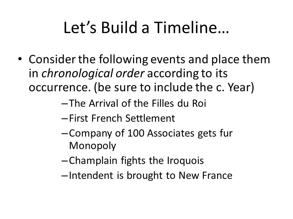 Let's Build a Timeline… Consider the following events and place them in chronological order according to its occurrence.