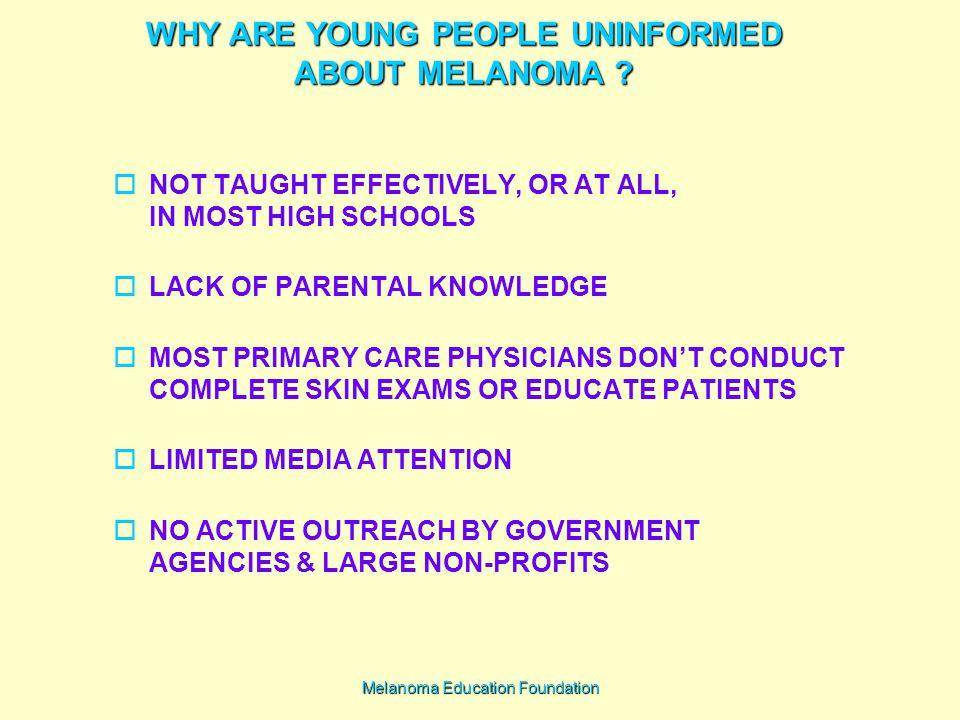 Melanoma Education Foundation WHY ARE YOUNG PEOPLE UNINFORMED ABOUT MELANOMA .