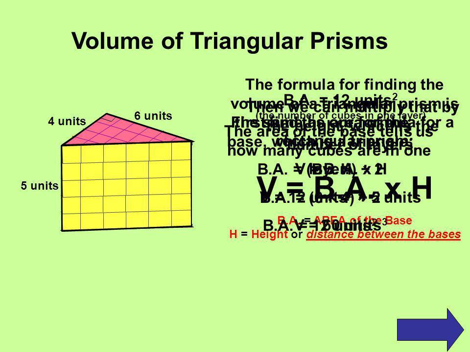 Volume of Rectangular Prism = B.A.
