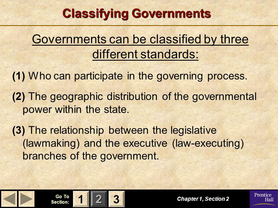 123 Go To Section: Chapter 1, Section 2 3333 1111 Classifying Governments Governments can be classified by three different standards: (1) Who can participate in the governing process.