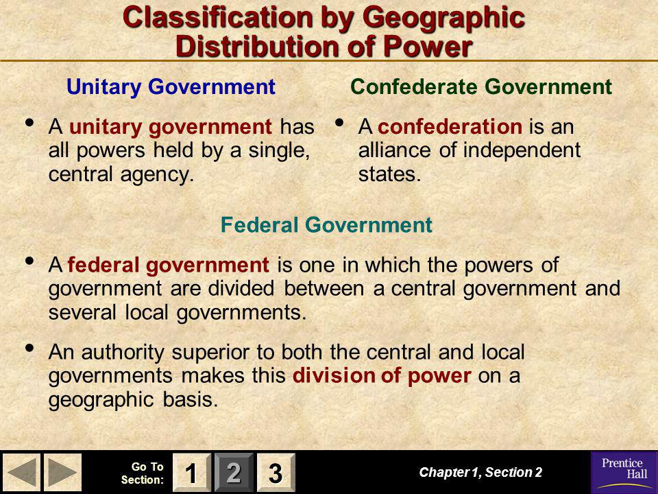 123 Go To Section: Classification by Geographic Distribution of Power Unitary Government A unitary government has all powers held by a single, central agency.