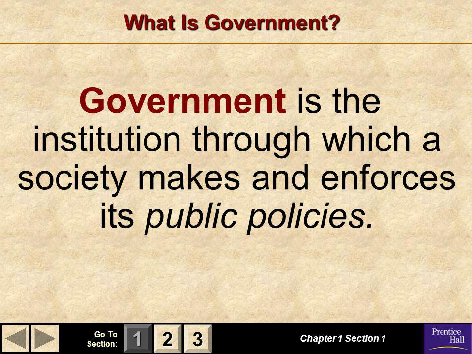 123 Go To Section: What Is Government.