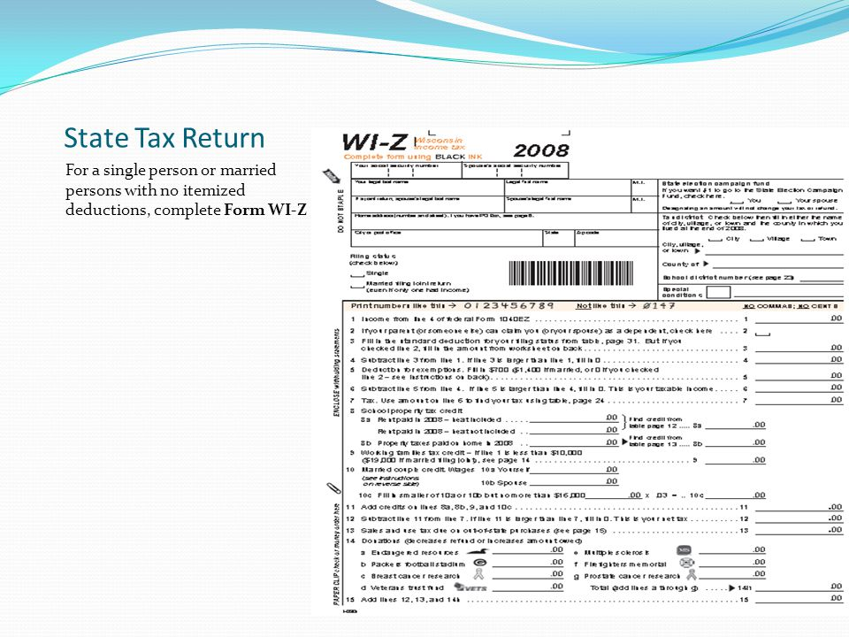 State Tax Return For a single person or married persons with no itemized deductions, complete Form WI-Z