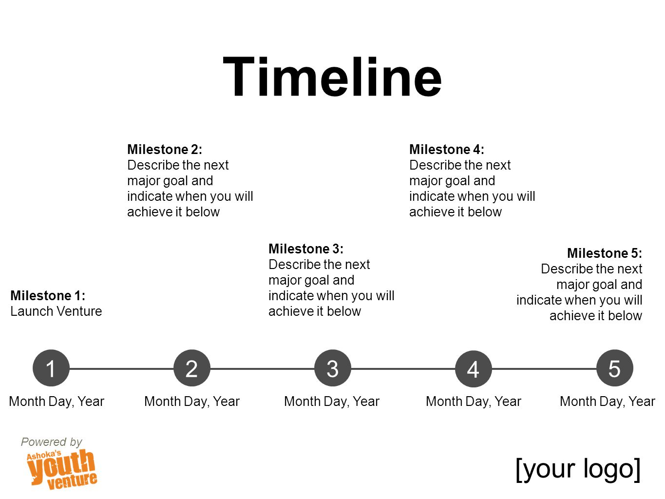 Timeline Powered by [your logo] 123 4 5 Month Day, Year Milestone 1: Launch Venture Milestone 2: Describe the next major goal and indicate when you will achieve it below Milestone 3: Describe the next major goal and indicate when you will achieve it below Milestone 4: Describe the next major goal and indicate when you will achieve it below Milestone 5: Describe the next major goal and indicate when you will achieve it below