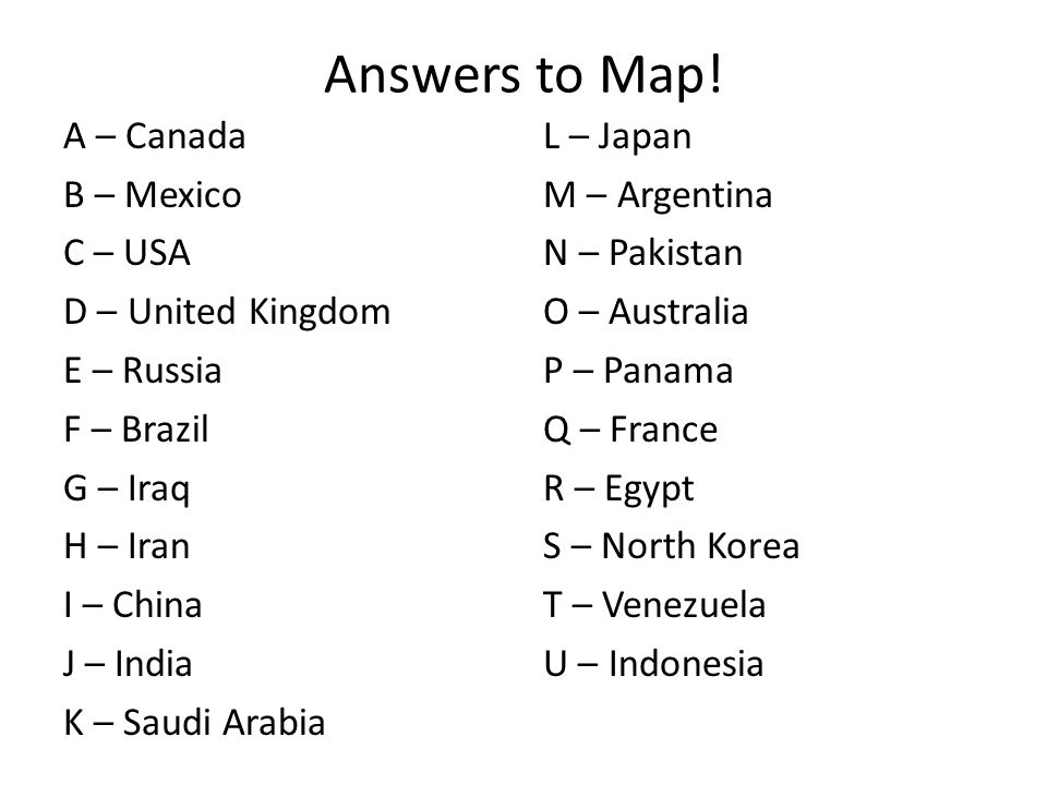 Answers to Map.
